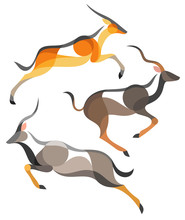 Stylized Antelopes - Eland, Kudu And Nyala