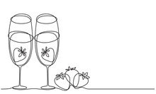 Wine Glasses And Strawberry. Glasses Of Champagne And Strawberries. Line Drawing
