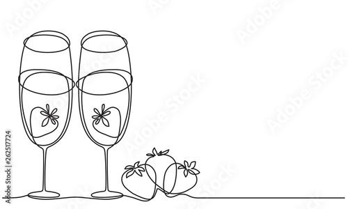 Wine glasses and strawberry Fototapeta