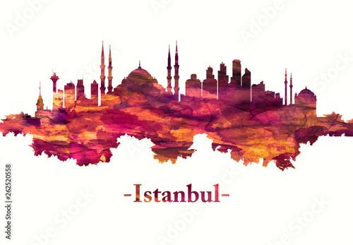 Fotomural Istanbul Turkey skyline in red