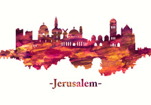 Jerusalem Israel Skyline In Red