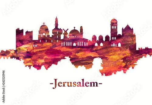 Naklejka premium Panoramę Jerozolimy Izrael na czerwono
