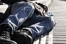 Homeless Man Or Refugee Sleepi...