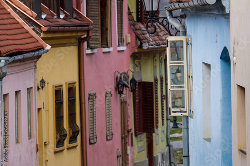 Foto op Plexiglas Cyprus Street in Sighisoara, Romania