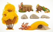 Set Of Natural Autumn Objects Big Bush, Hill With Hole, Stones And Moss-covered Stumps On White Background