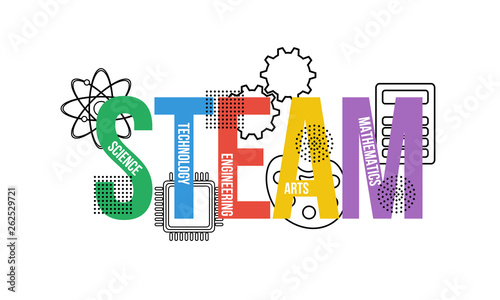 Obraz STEAM - science, technology, engineering, arts, mathematics. Education concept - fototapety do salonu