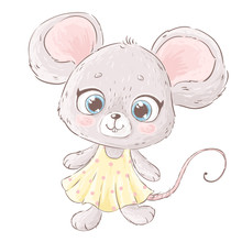 Hand Drawn Vector Illustration Of Cute Mouse With Big Eyes