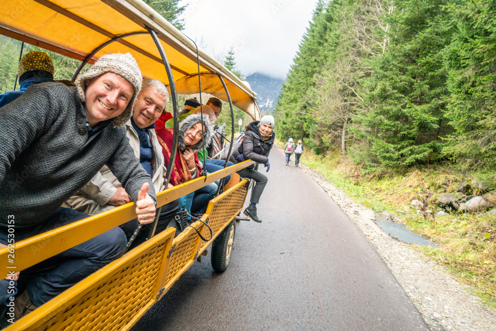 Fototapety, obrazy: Family enjoying nature from horse drawn carriage, Tatra Mountains National Park, Poland