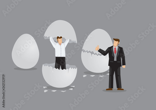 Fotomural  Businessman Emerges from Egg Cartoon Vector Illustration