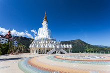 White Big Buddha Images With Different Sizes. At Wat Phasornkaew Or Wat Phra Thart Pha Kaew Is A Buddhist Monastery And Temple In Khao Kor, Phetchabun.