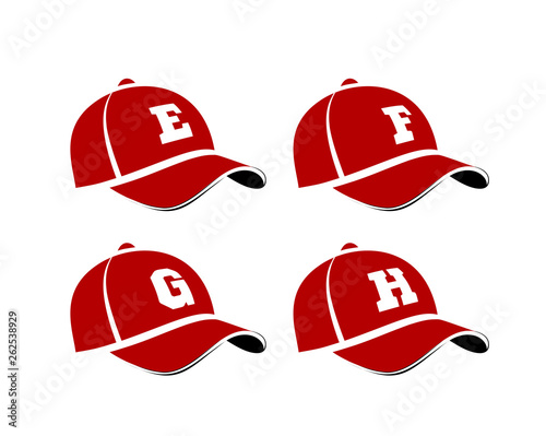 Fotografie, Obraz  Baseball caps with capital letters of the alphabet, can be used as abbreviations player names or team names