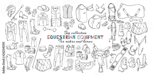 Vászonkép Vector illustrations on the equestrian equipment theme.