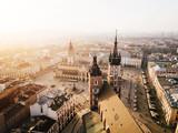 Fototapeta Miasto - Kraków Bazylika Mariacka i Sukiennice Panorama z powietrza - Zachód Słońca