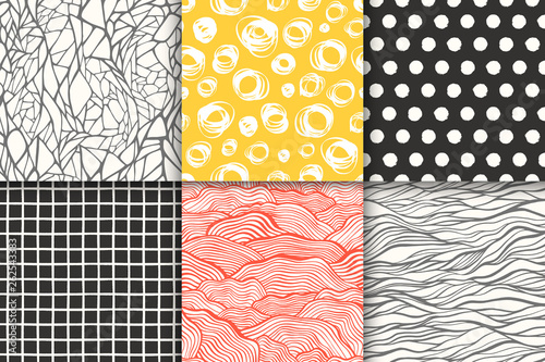 Door stickers Pattern Abstract hand drawn geometric simple minimalistic seamless patterns set. Polka dot, stripes, waves, random symbols textures. Vector illustration