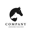 Horses head profile graphic logo template, creative twins horses head logo concept