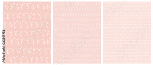 Türaufkleber Künstlich Abstract Hand Drawn Childish Style Loops Vector Pattern Set. White Waves on a Various Light Pink Backgrounds. Funny Geometric Repeatable Design.