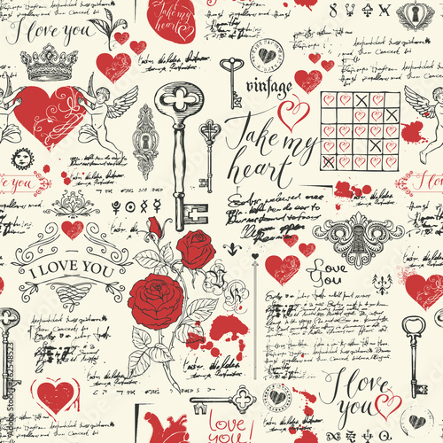 Tapeta czerwona  vector-seamless-pattern-on-the-theme-of-declaration-of-love-and-valentine-day-in-retro-style-abstract-background-with-red-hearts-roses-keys-keyholes-cupids-and-handwritten-inscriptions