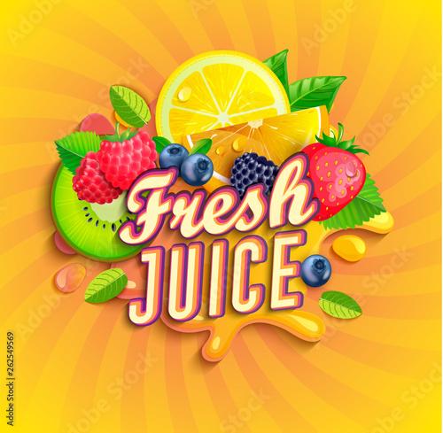 Vászonkép Fresh juice logo with splash, fruits and berries on sunburst background