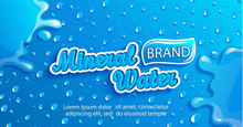 Fresh Mineral Water Label, Clean And Natural With Splash And Drops From Condensation On Gradient Blue Background For Brand,logo, Template,banner, Emblem And Store,packaging,advertising,packing.Vector