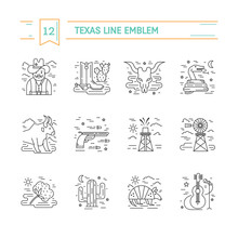 Vector Texas Black And White Outline Icons Isolated