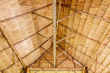 Bamboo Roof Frame. Wooden Roof Under Construction. Bamboo Ceiling.