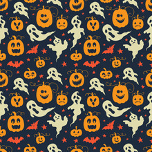 Vector Halloween Seamless Patt...