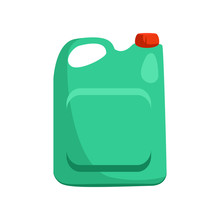 Green Plastic Can With Handle. Container For Oil, Detergent, Liquid. Plastic Bottle Concept, Vector Illustration Can Be Used For Topics Like Waste Sorting, Container, Canister
