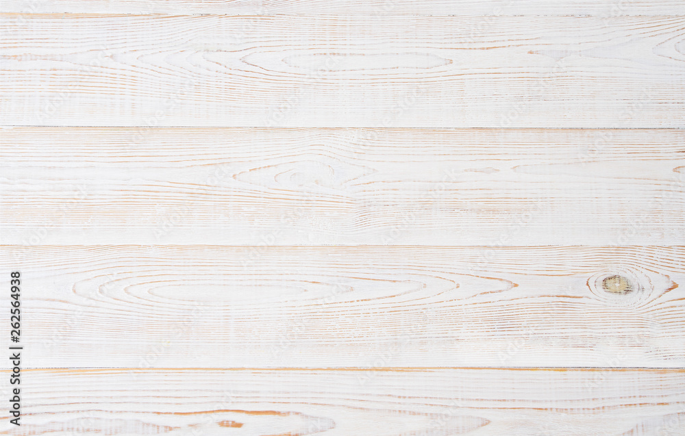 Fototapety, obrazy: White wooden texture table background. Wood empty floor with copy space. Template desk top view and mock up.