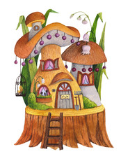 Mushroom House With Grass, Flowers, Butterfly, Birdcage  And Shovel. Watercolor And Colored Pencil Illustration.