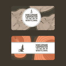 Wood Vector Pattern Business Card Wooden Circle Rings Tree Log Lumbers Logging Trunks And Hardwood Timbered Materials In Sawmill Illustration Backdrop Lumbering Set Of Firewoods Background