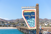 Ventura Historic Pier Wooden Sign In Los Angeles, USA