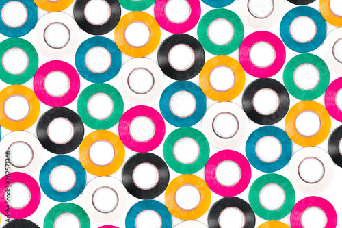 Set of sticky colorful electrical protection tape. #262571368