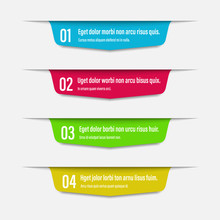 Infographics Banners. A Vivid Illustration Of The Layout Of The Labels Banner. Colored Labels With A Set Of Steps And Parameters. A Template For The Design. All Elements Are Isolated.EPS 10.