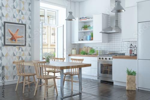 Valokuva  3d Illustration - Skandinavische, nordische Küche mit einem großen Tisch - Wohnu