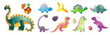 Fototapeta Dinusie - Set of cute colorful dinosaurs and colorful kid egg