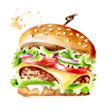Fresh Tasty Burger. Watercolor...