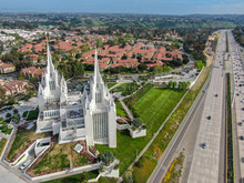 Aerial View Of The San Diego California Temple, The 47th Constructed And 45th Operating Temple Of The Church Of Jesus Christ Of Latter-day Saints. San Diego, California, USA.