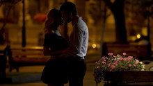 Couple Of Beloved Going To Kiss, Romantic Date In Park, Evening Time, Love
