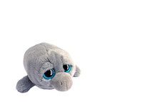 Grey Toy Soft Dolphin With Big Black And Blue Eyes With Reflection