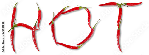 Staande foto Hot chili peppers Word hot from red spicy chili peppers over white.
