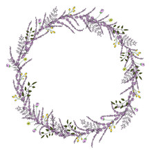 Vector Wreath Of Garden Flowers And Herbs. Hand Drawn Cartoon Style Illustration. Cute Summer Or Spring Frame For Wedding, Holiday Or Card Design
