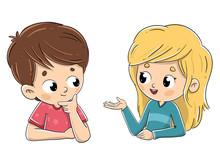 Pareja De Niños Hablando Entre Ellos