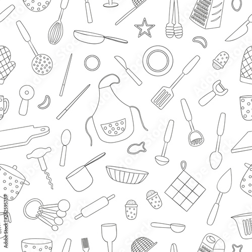 vector-seamless-pattern-of-black-and-white-kitchen-tools-repeat-background-with-isolated-monochrome-apron-cutlery-chopping-board-saucepan-measuring-cup-grater-whisk-dish-glass-fork