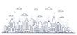 Leinwandbild Motiv Thin line style city panorama. Illustration of urban landscape street with cars, skyline city office buildings, on light background. Outline cityscape. Wide horizontal panorama.