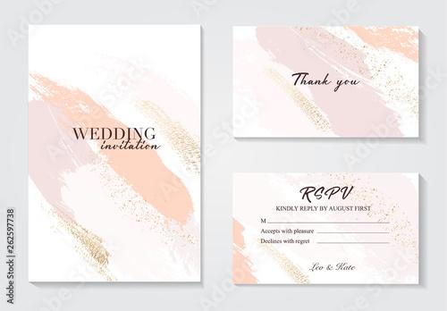 Fotografía  Coral gold greeting brush strokes wedding decoration