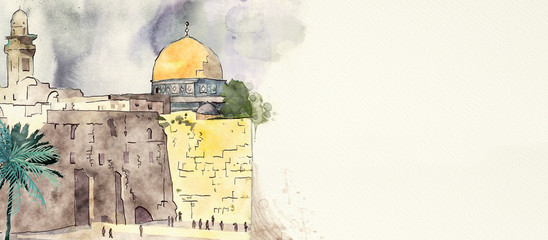 Jerusalem. Watercolor backg...