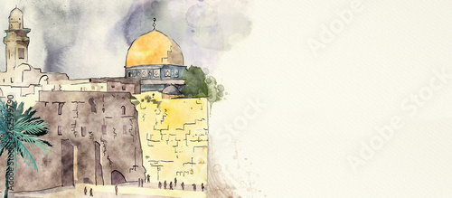 Valokuva  Jerusalem. Watercolor background