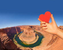 Hand Hold Red Heart And Horse Shoe Canyon Colorado