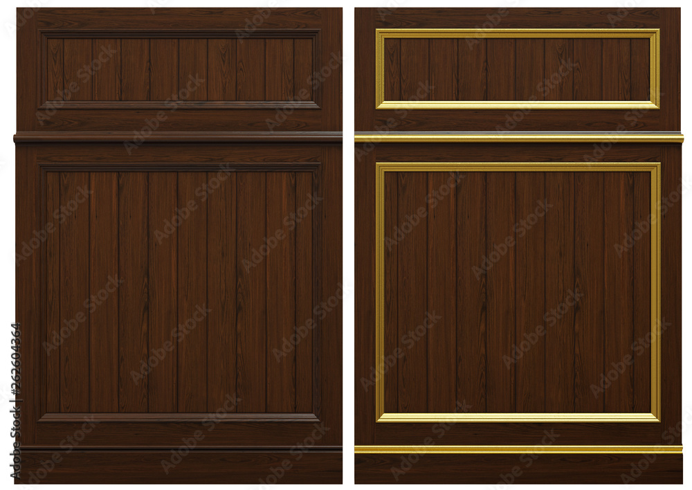 Fototapety, obrazy: Classic wooden panel and veneer and patina gold