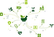 Herbal Remedy / Organic Pharmaceuticals / Natural Alternative Medicine Icon Concept – Vector Illustration
